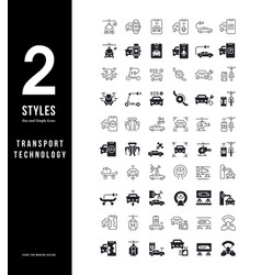 Simple line icons transport technology vector