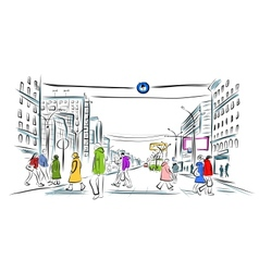Sketch of street with pedestrians for your design vector