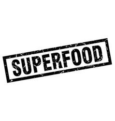 Square grunge black superfood stamp vector