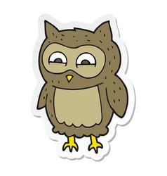 Sticker of a cartoon owl vector