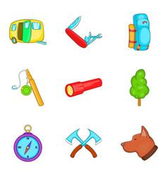 Stroll icons set cartoon style vector