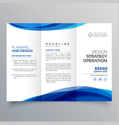 stylish blue wave business brochure template for vector image