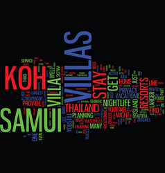 thailands koh samui villas text background word vector image