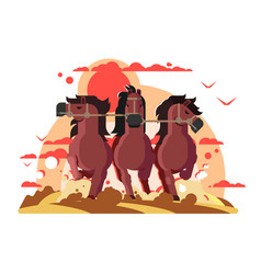 Three horses in harness running vector