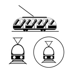 tram icons black and white set public transport vector image