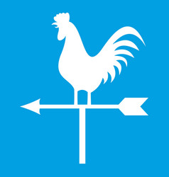 Weather vane with cock icon white vector