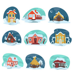 winter landscapes with houses covered with snow vector image