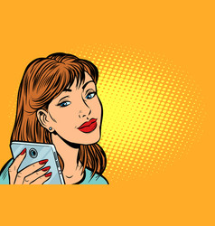 woman looking in smartphone vector image