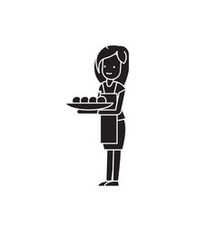 woman with a cake black concept icon woman vector image