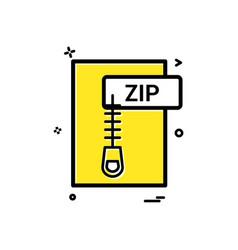Zip file format icon design vector