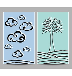 card clouds and tree vector image vector image