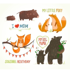 Cartoon Forest Animals Parent with Baby Birthday vector image
