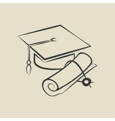 Graduation cap and diploma - vector image vector image