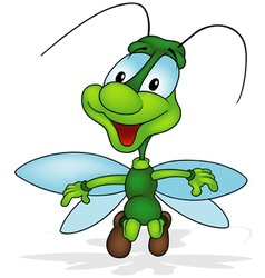 Green Smiling Bug vector image vector image