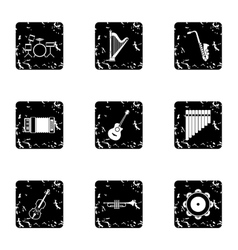 Musical tools icons set grunge style vector image vector image