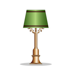 vintage bronze desk lamp with the green lamp shade vector image
