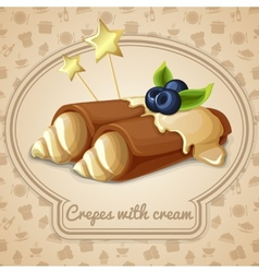 Crepes with cream emblem vector image