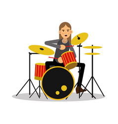mucisian man with long hairs playing on drum kit vector image vector image