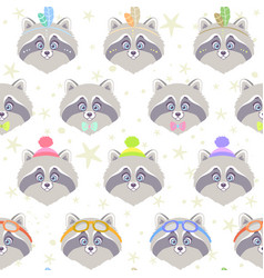 seamless cute raccoon vector image vector image