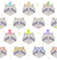 seamless cute raccoon vector image