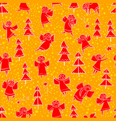 seamless pattern with doodle dancing angels and vector image vector image