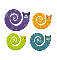 Cat with long tail Snake cat Set of fantastic vector image