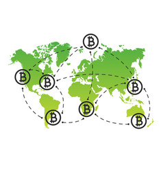 global abstract bitcoin crypto currency blockchain vector image