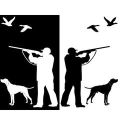hunter and dog silhouettes vector image vector image