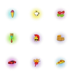 Italy icons set pop-art style vector image vector image