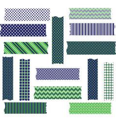 Navy Green Washi Tape Graphics set vector image vector image