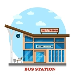 Bus station or depot structure exterior view vector image vector image
