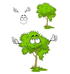 Cartoon green tree on grass vector image vector image