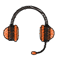 Colorful crayon silhouette of handsfree headset vector