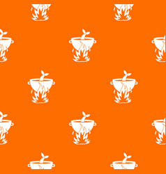 fish soup on a fire pattern seamless vector image vector image