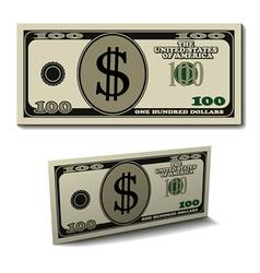 Hundred dollar paper bill banknote vector