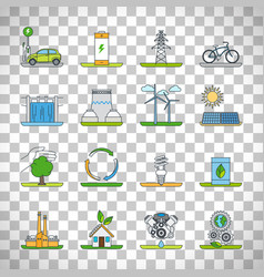 renewable energy outline icons vector image vector image