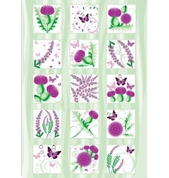 set of the decorative Scottish flowers thistle and vector image vector image