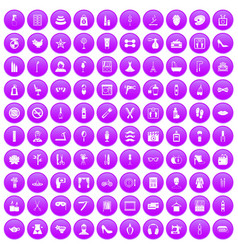 100 beauty and makeup icons set purple vector