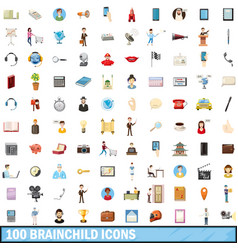 100 brainchild icons set cartoon style vector