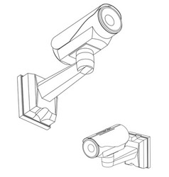 3d model of surveillance camera on a white vector image