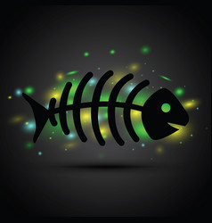 a dead fish on black background vector image