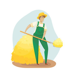 A farmer in overalls and a straw hat harvesting vector