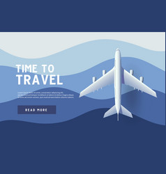 airplane flying over ocean time to travel vector image
