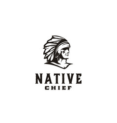 American native indian chief headdress logo vector