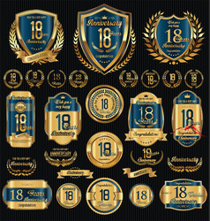 anniversary golden shields laurel wreaths and vector image