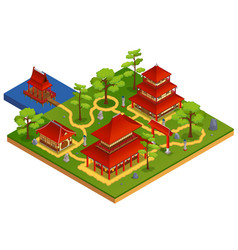 Asian buildings concept vector