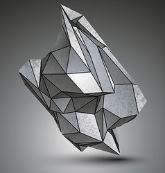 Asymmetric sharp metallic object created from vector