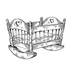 Baby cradle engraving vector