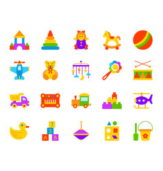 baby toy simple flat color icons set vector image