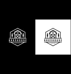 barn house logo design emblem line style vector image